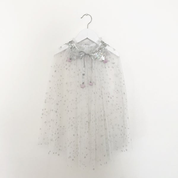 Image of Magic cape - white with silver sequins and lavender poms