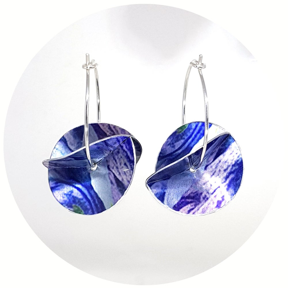 Image of Whirligig Earrings - Blue Petal