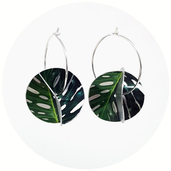 Image of Whirligig Earrings - Monstera Silver