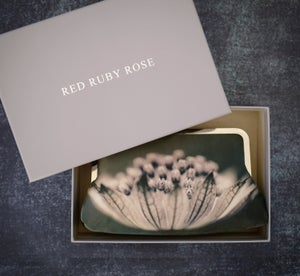 Image of Silver flower silk purse, astrantia