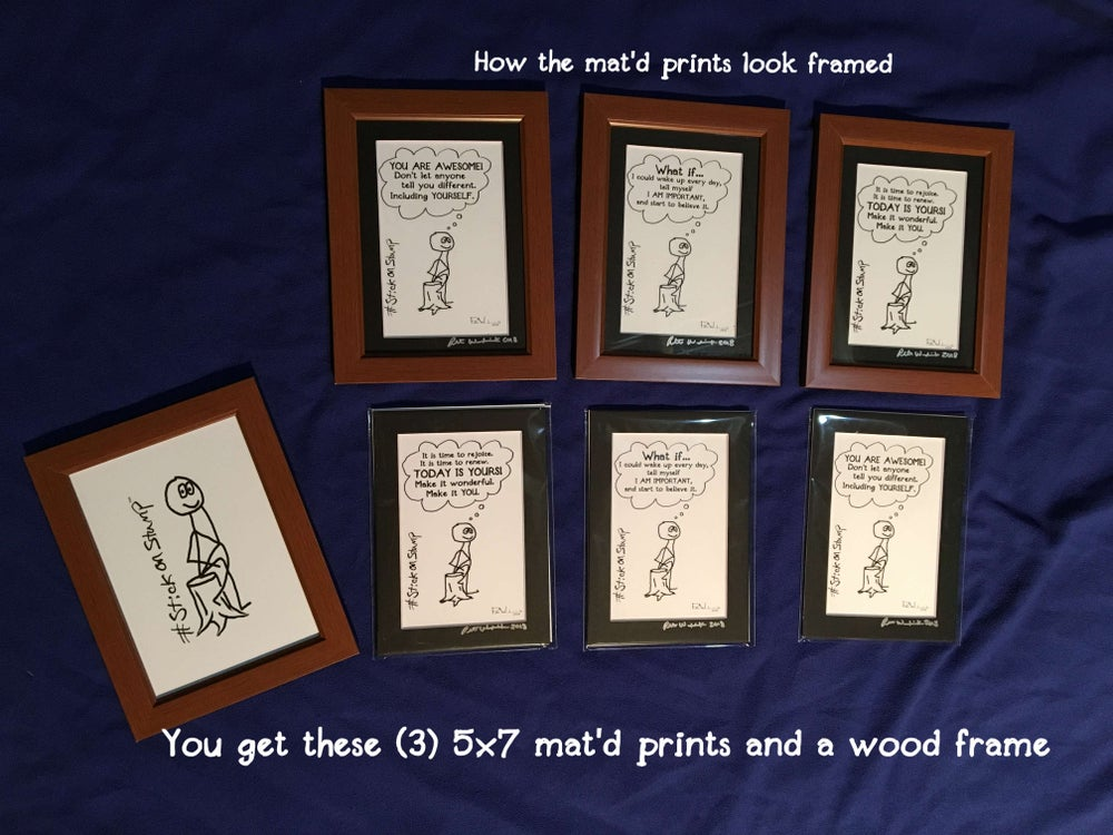 Image of 5x7 (4x6 mat'd) StickonStump Frameable Prints w/ frame