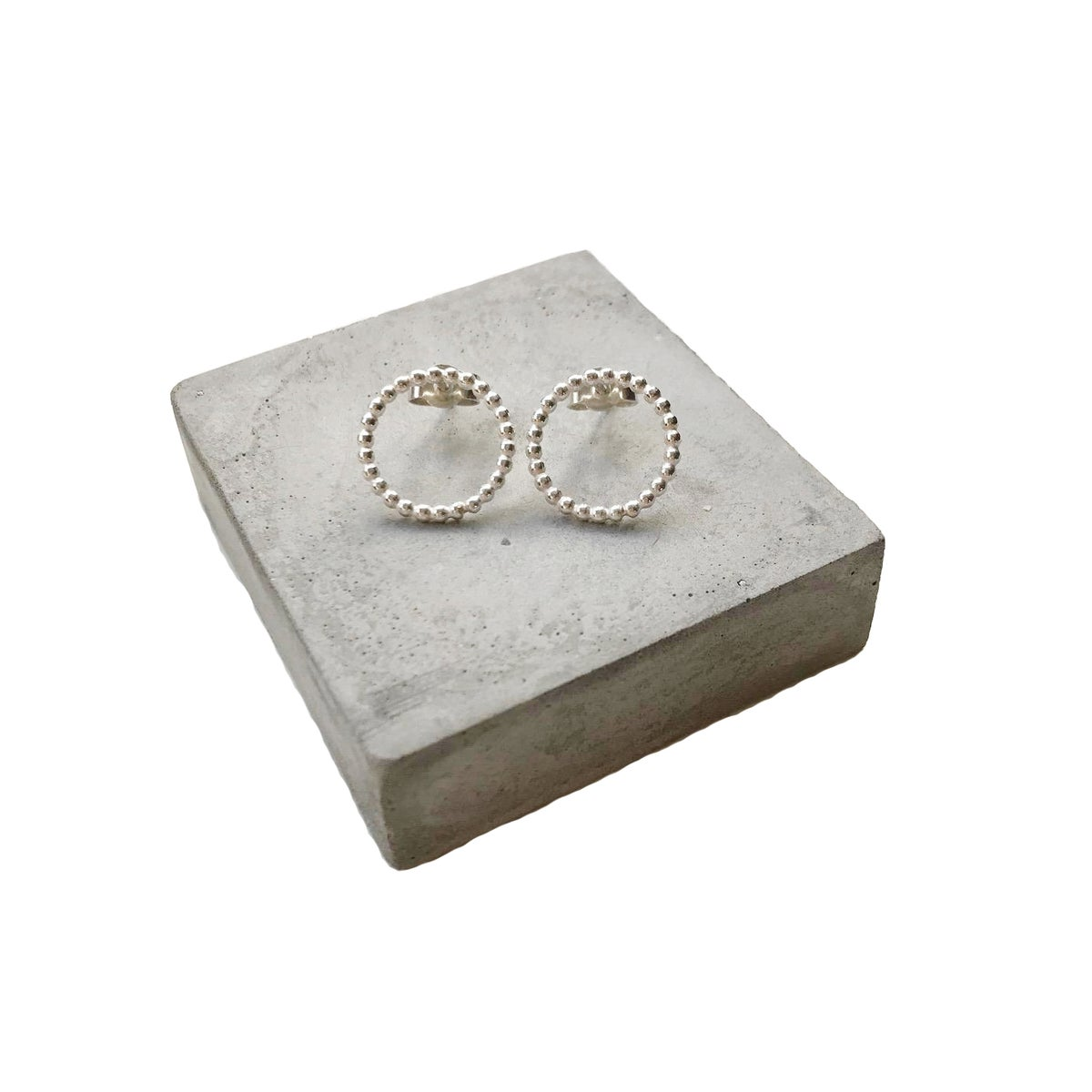 Image of Large beaded silver circle studs