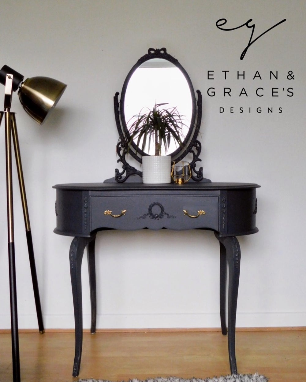 Image of A beautiful dark grey dressing table