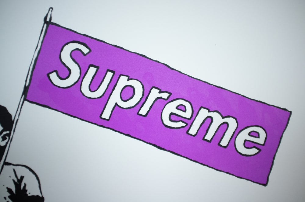 "Image of ""Supreme Steve"" Purple Box Logo"
