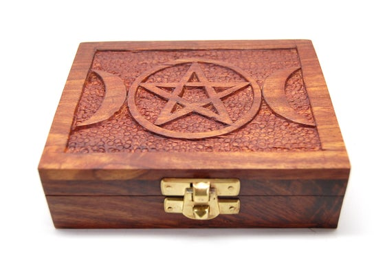 Image of Pentacle Moon Wooden Box