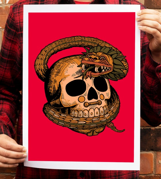 Image of Feathered Skull - A3 Art Print