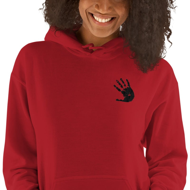 Image of TurtleGang Hands On Embroidered Hooded Sweatshirt Red