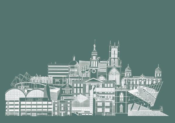 Image of Hull Architecture Panorama (reverse dark green & white)