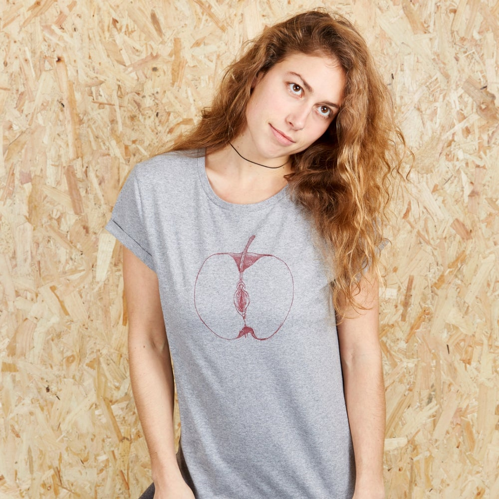 VajApple Girls Grey Roll Sleeve T-shirt (Organic)