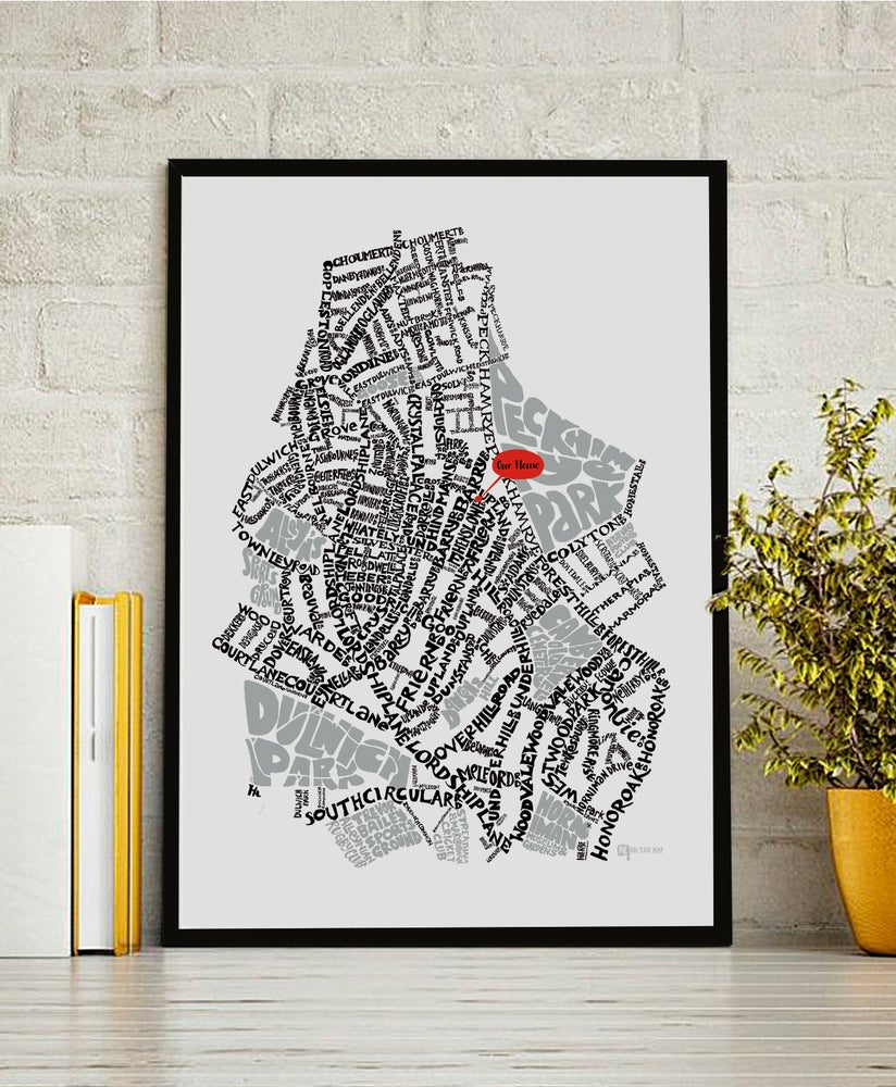 Image of East Dulwich SE22 - SE London Type Map - Black text on white background