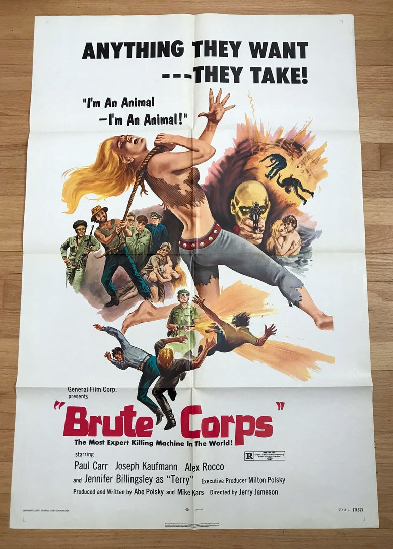 Image of 1971 BRUTE CORPS Original U.S. One Sheet Movie Poster
