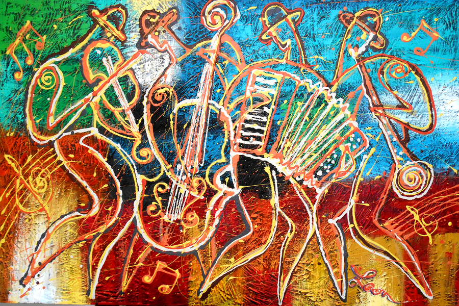Image of Jewish Klezmer Music Jewish Judaical Modern Original Painting. Free Shipping to US and Canada