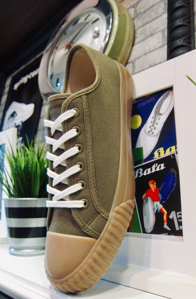 Image of Bata Bullets lo top army green canvas sneaker shoes