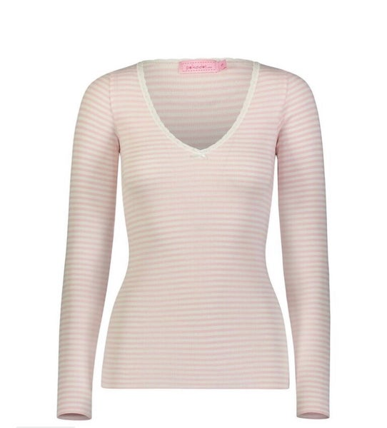 Image of Pink sailor stripe V neck top