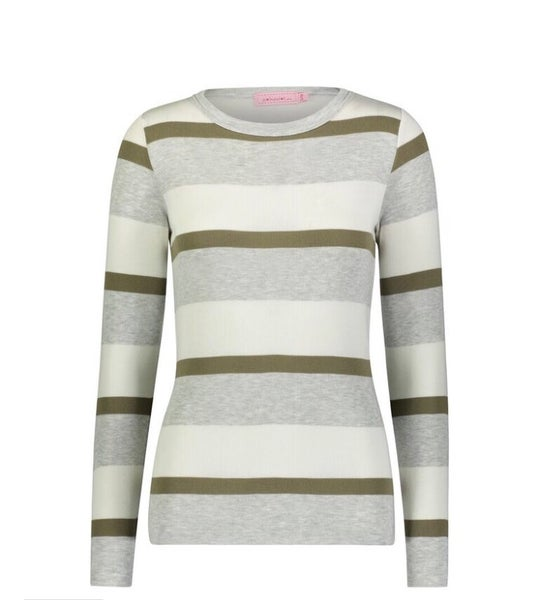Image of Loden stripe /solid slouchy top
