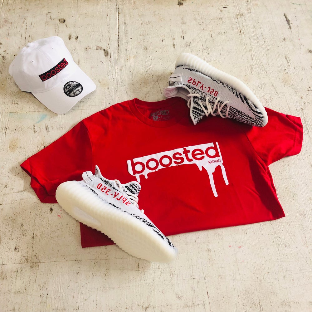 """BOOSTED """" RED, HEATHER GREY, NAVY, CHARCOAL HEATHER W/ WHITE PRINT """" T-SHIRT"""