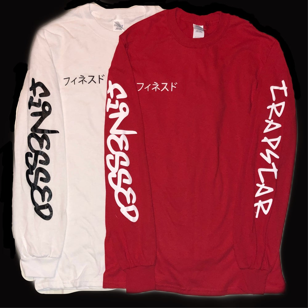 Image of Trapstar Long Sleeve Shirt Red/White