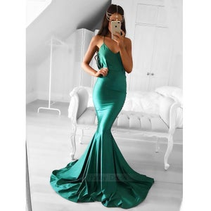 Image of Runway Green Silk Satin V-Neck Mermaid Sweep Train Evening Gown Formal Dress With Zipper Back
