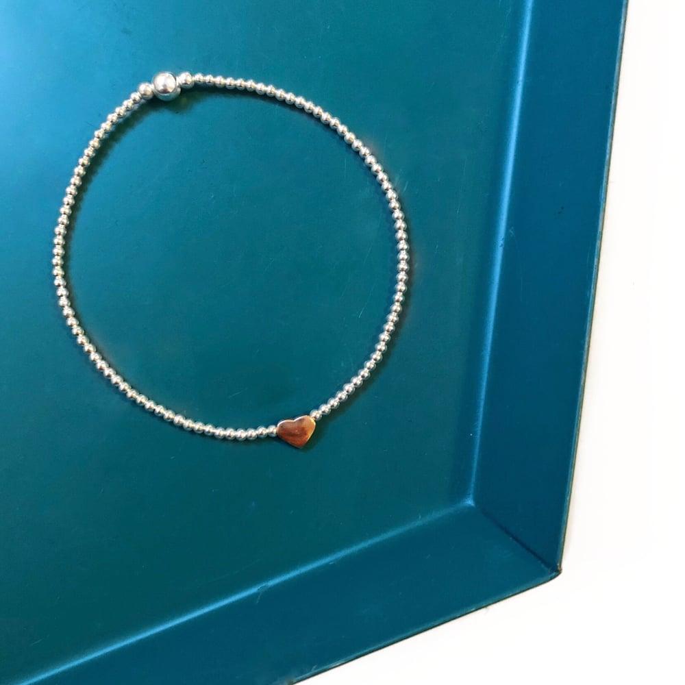 Image of Sterling Silver & Rose Gold Heart Bead Bracelet