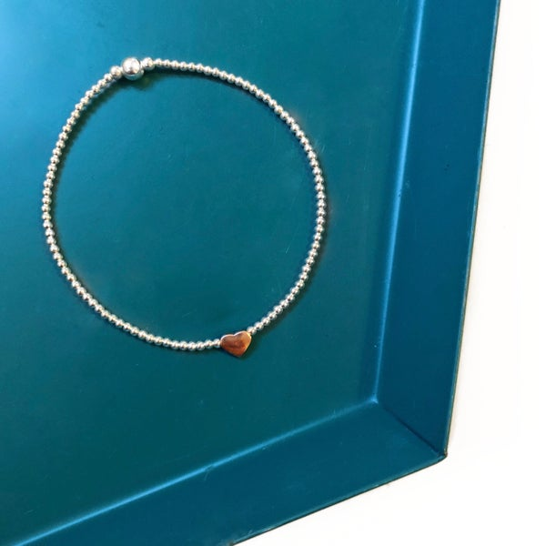 Image of Sterling Silver & Rose Gold Heart Bead Bracelet