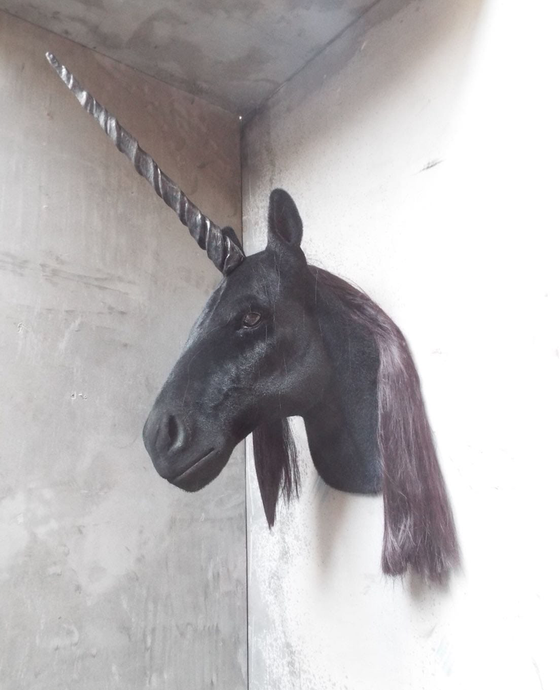Image of Faux Taxidermy Black Unicorn Head
