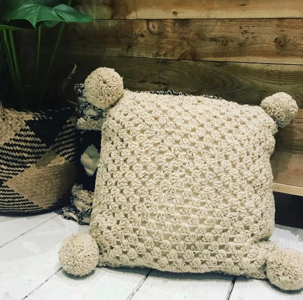 Image of Neutral crochet pompom cushion