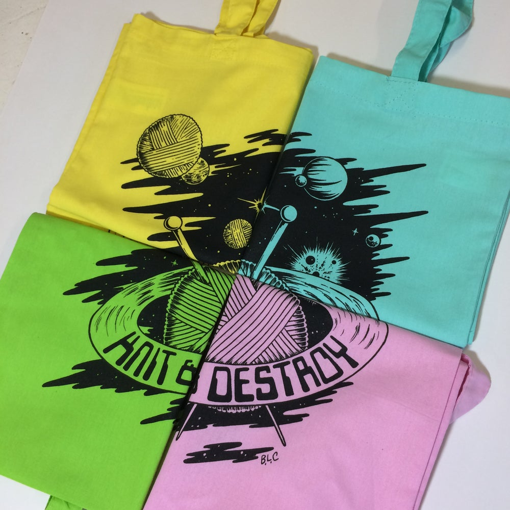 Image of Knit and Destroy - tote bag
