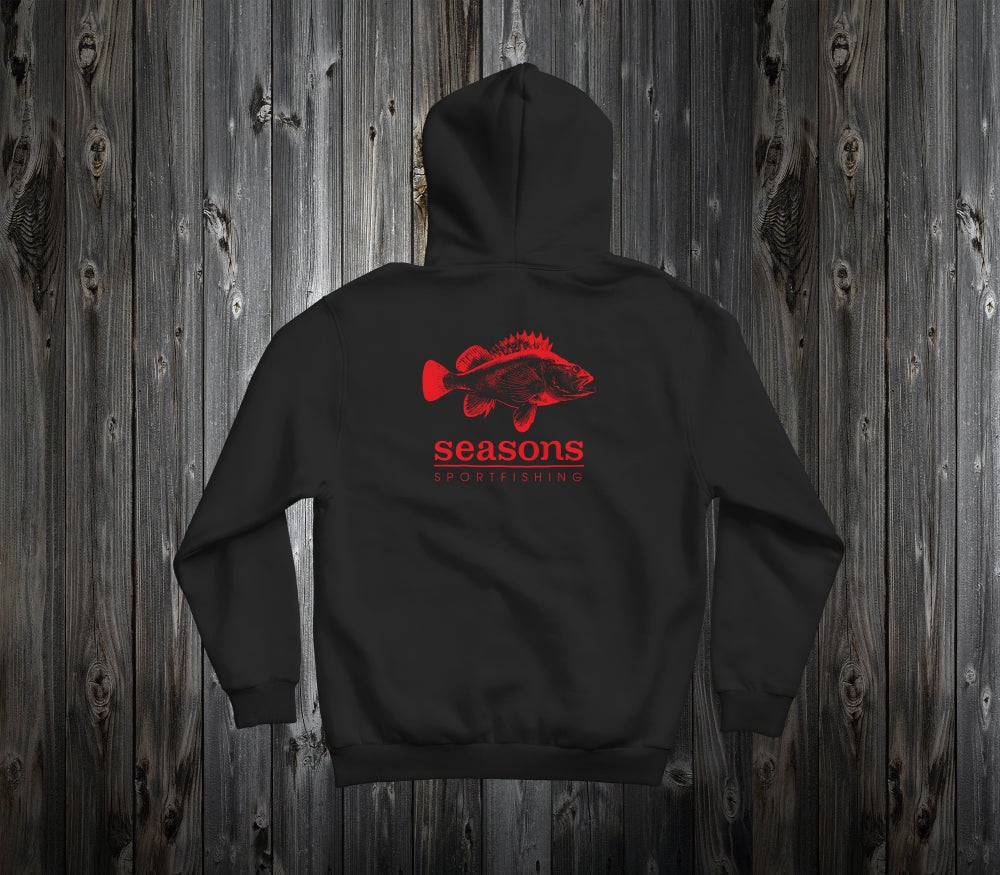 Image of SEASONS - BLACK HOODED SWEATHSHIRT - ROCK COD