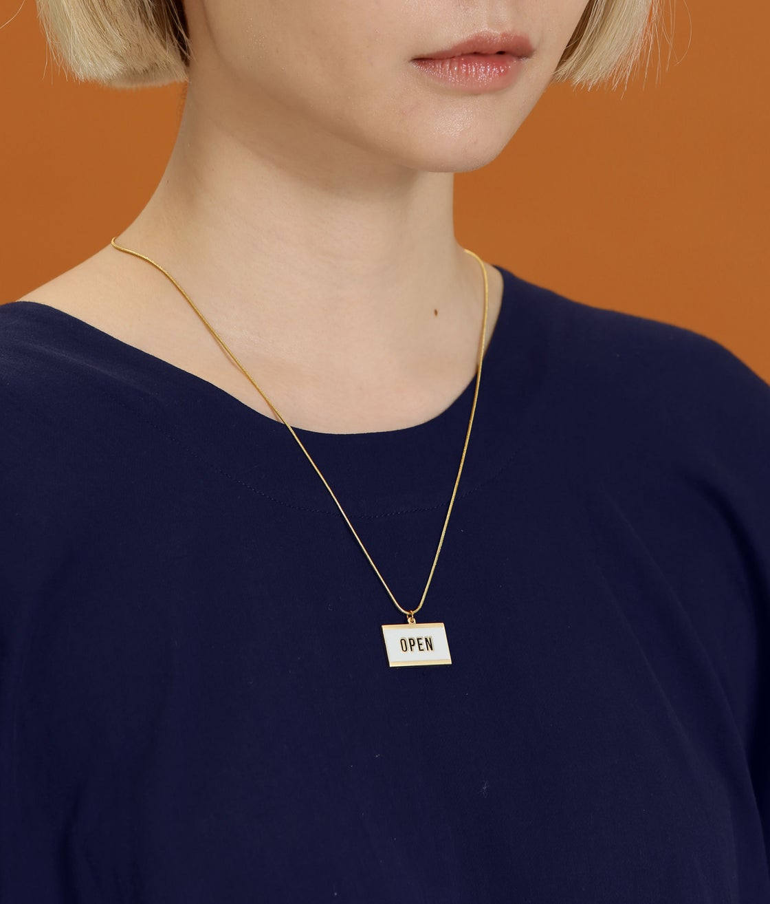 Image of OPEN+ CLOSED - reversible necklace- Black / Ivory -18K gold plated