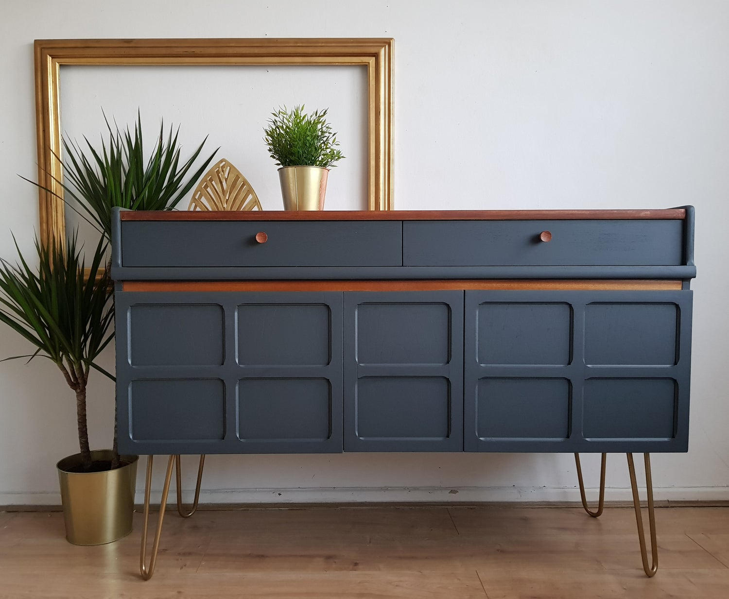Image of Nathan teak sideboard with hairpin legs