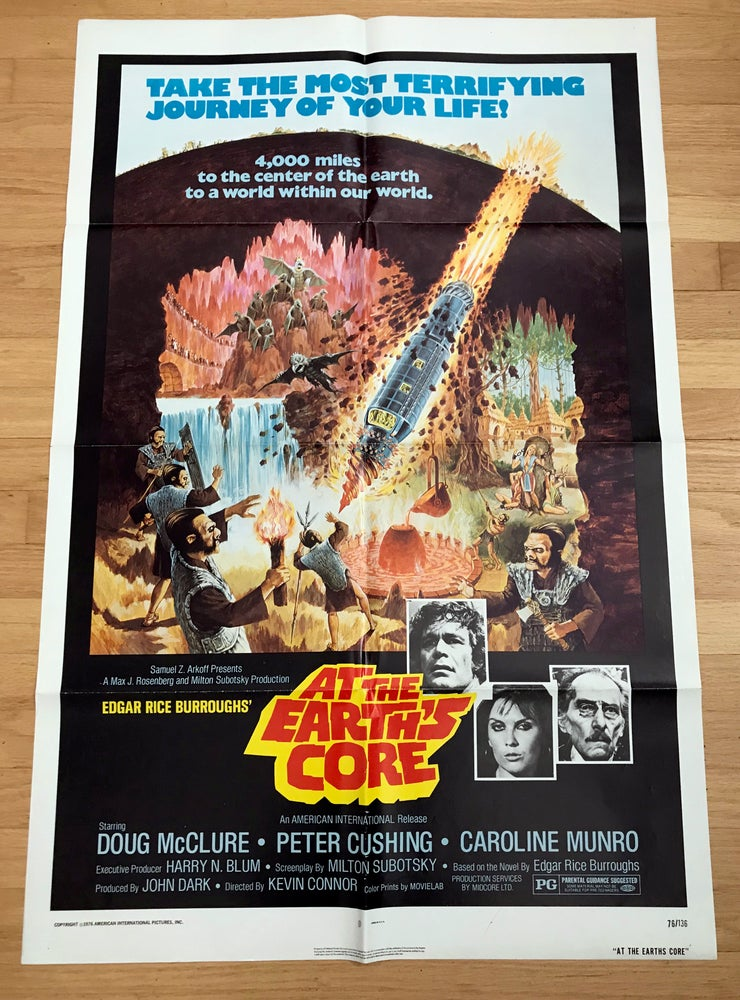 Image of 1976 AT THE EARTH'S CORE Original U.S. One Sheet Movie Poster