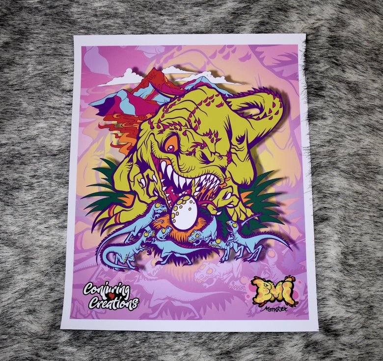 Image of Neon Lost Lands T-Rex Print (LE 10)