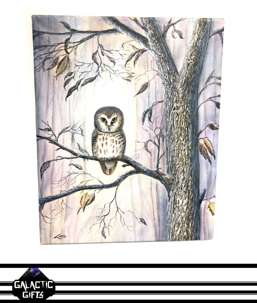 "Image of Henry Lobo ""Winter Forest Owl"" Acrylic Painting"