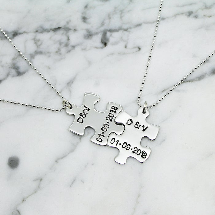 Image of Personalised Puzzle Piece Sterling Silver Necklace Set