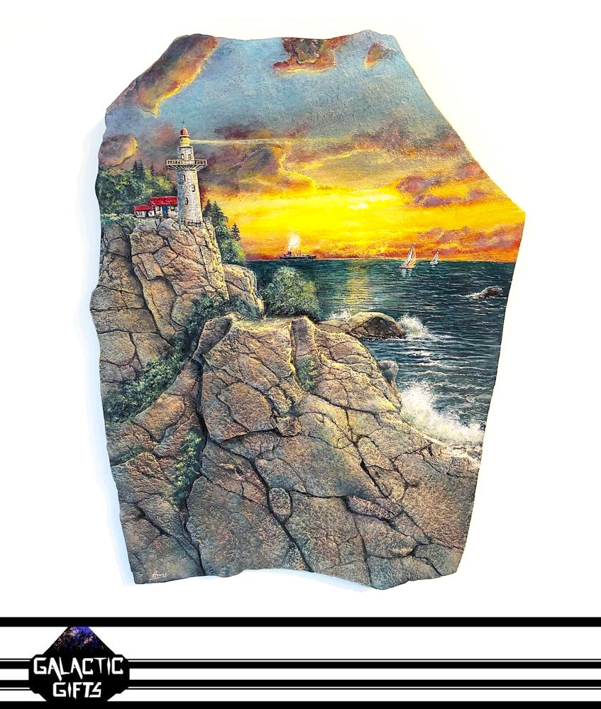 "Image of Henry Lobo ""Light House Cove"" Shale Rock Slab Painting"