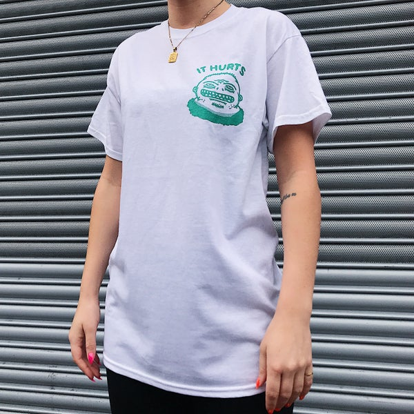 Image of 'It Hurts' T-shirt (Green/White)