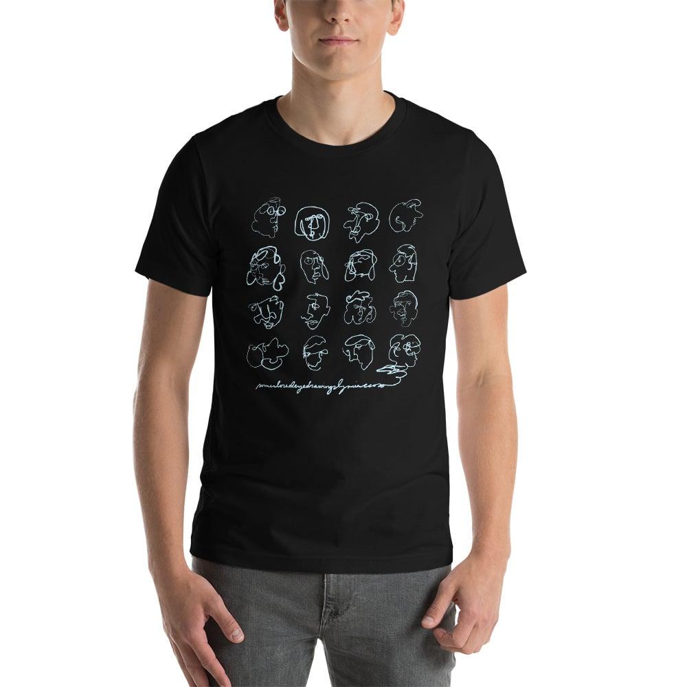 Image of Unisex 'Closed Eye Drawing' T-Shirt Black