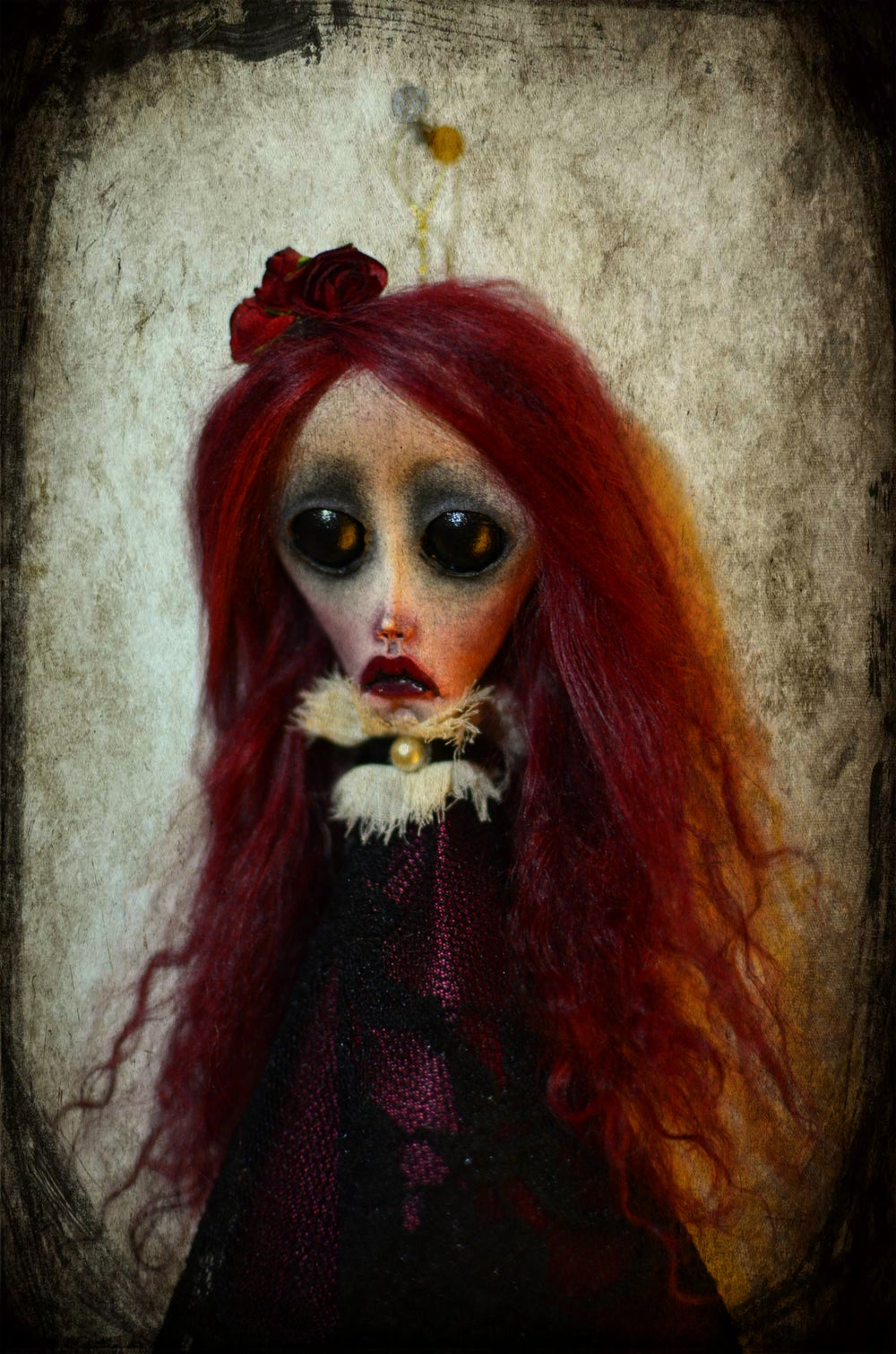 Image of *Custom order* OOAK Handmade art doll head ornament EMBERLYNN. Ghost doll, dark doll, gothic doll