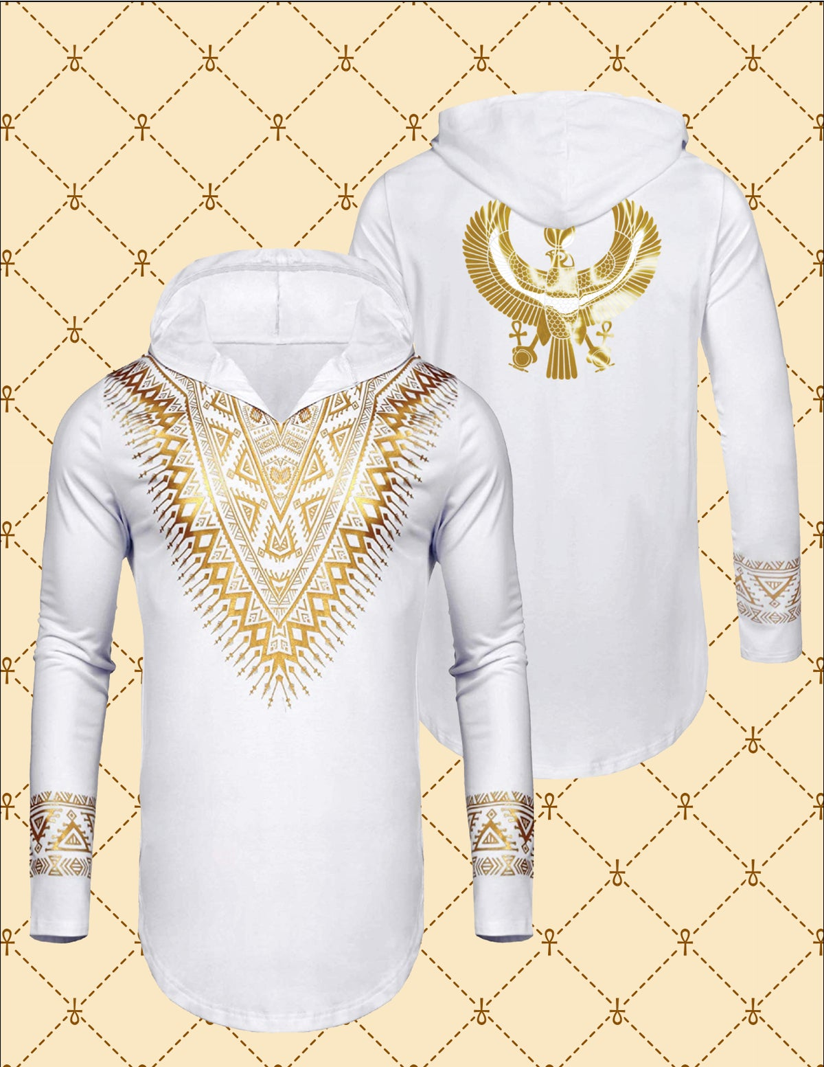 Image of Gold HRU African Dashiki Hooded Shirt
