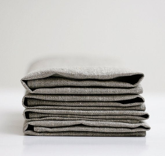 Image of Set of 4 Linen Napkins-Natural