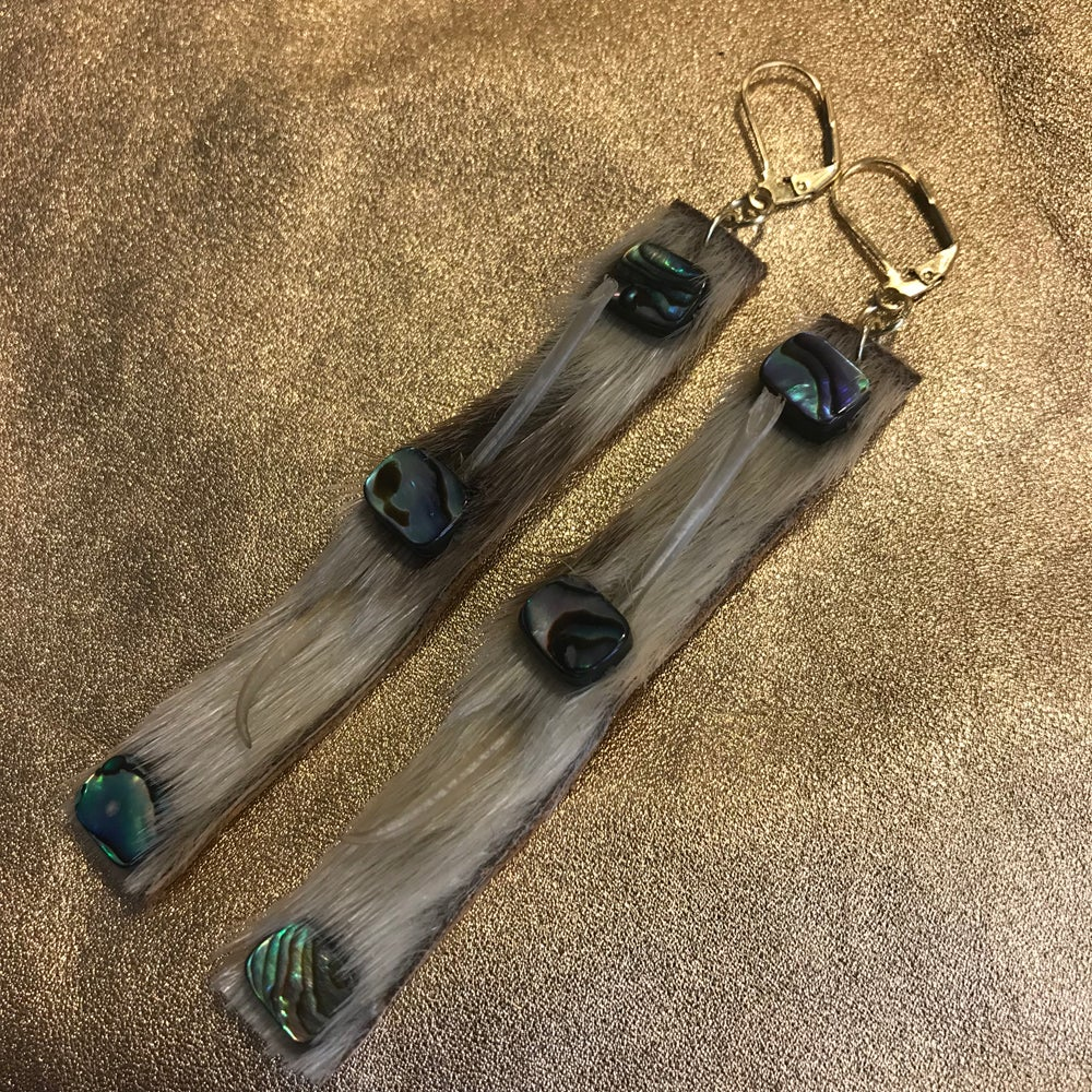 Image of Walrus Whisker, Sealskin and abalone earrings