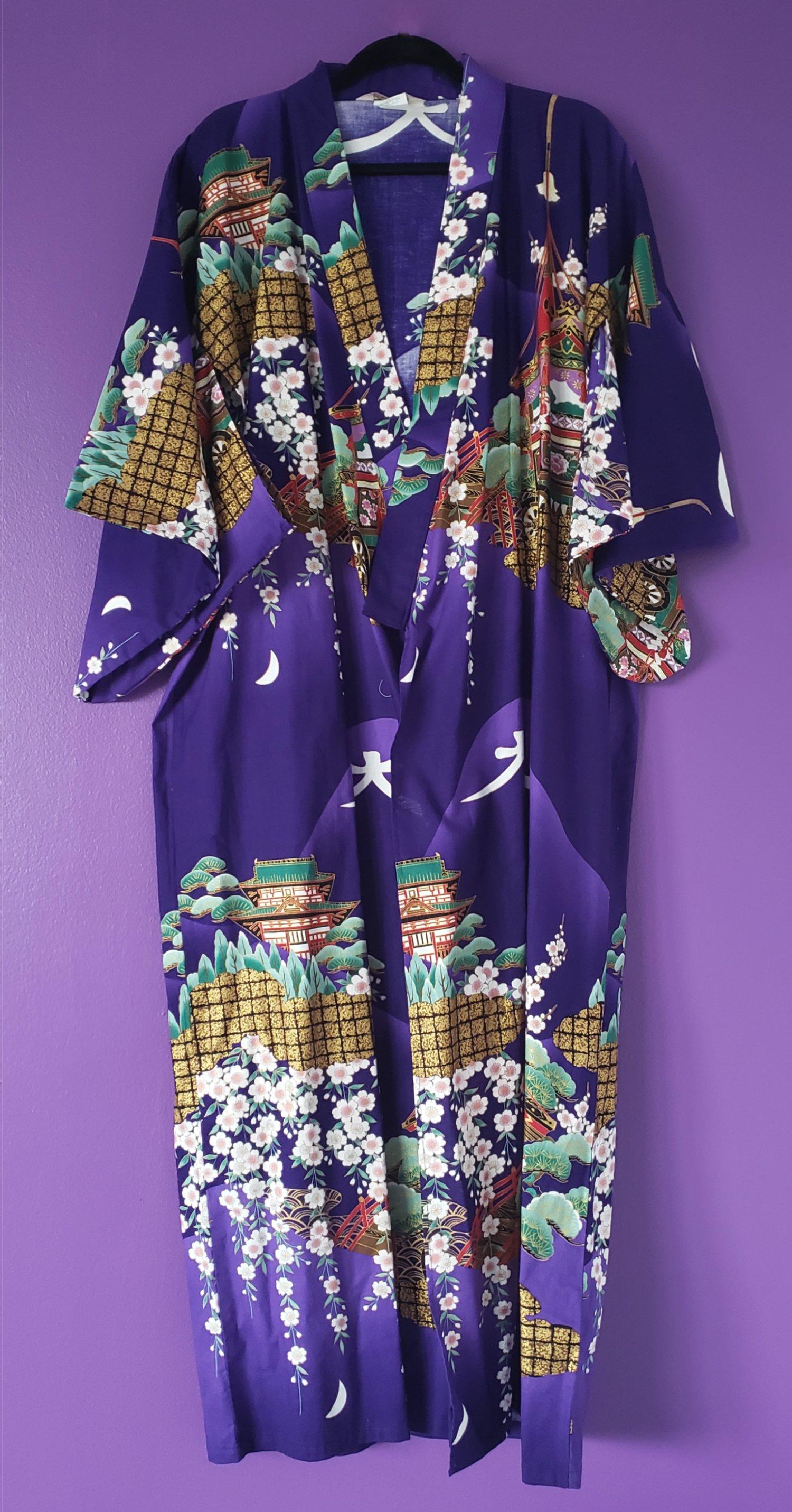 Image of Megumi Metallic Print Kimono Robe & Belt