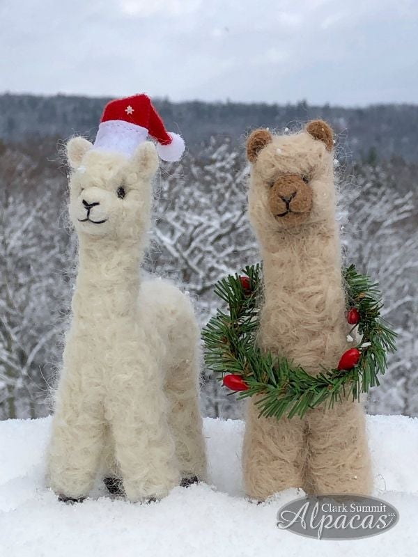 Image of Felted Alpaca Holiday Stuffed Animal Miniature Alpaca Hand Made Alpaca Fiber
