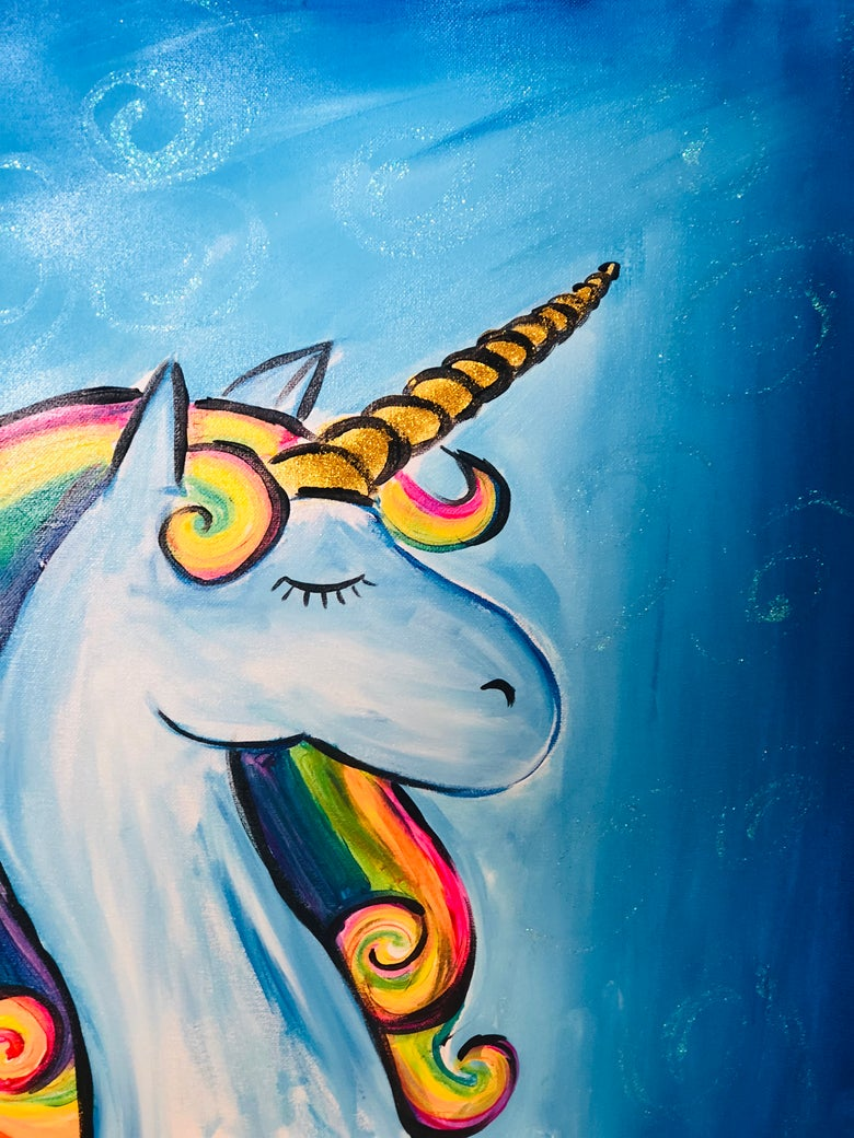 Image of  FAMILY POP UP PAINT CLASS: GLITTER UNICORN SATURDAY 10 AUGUST 5:30 - 7:30