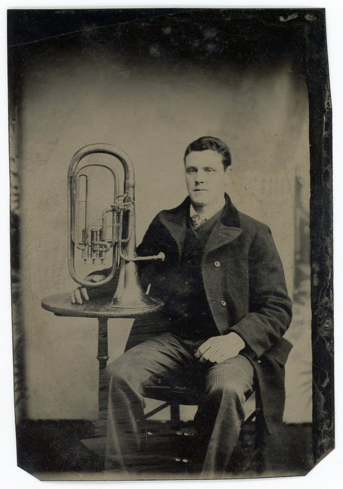 Image of Occupational Tintype of a man with his Euphonium, ca 1860