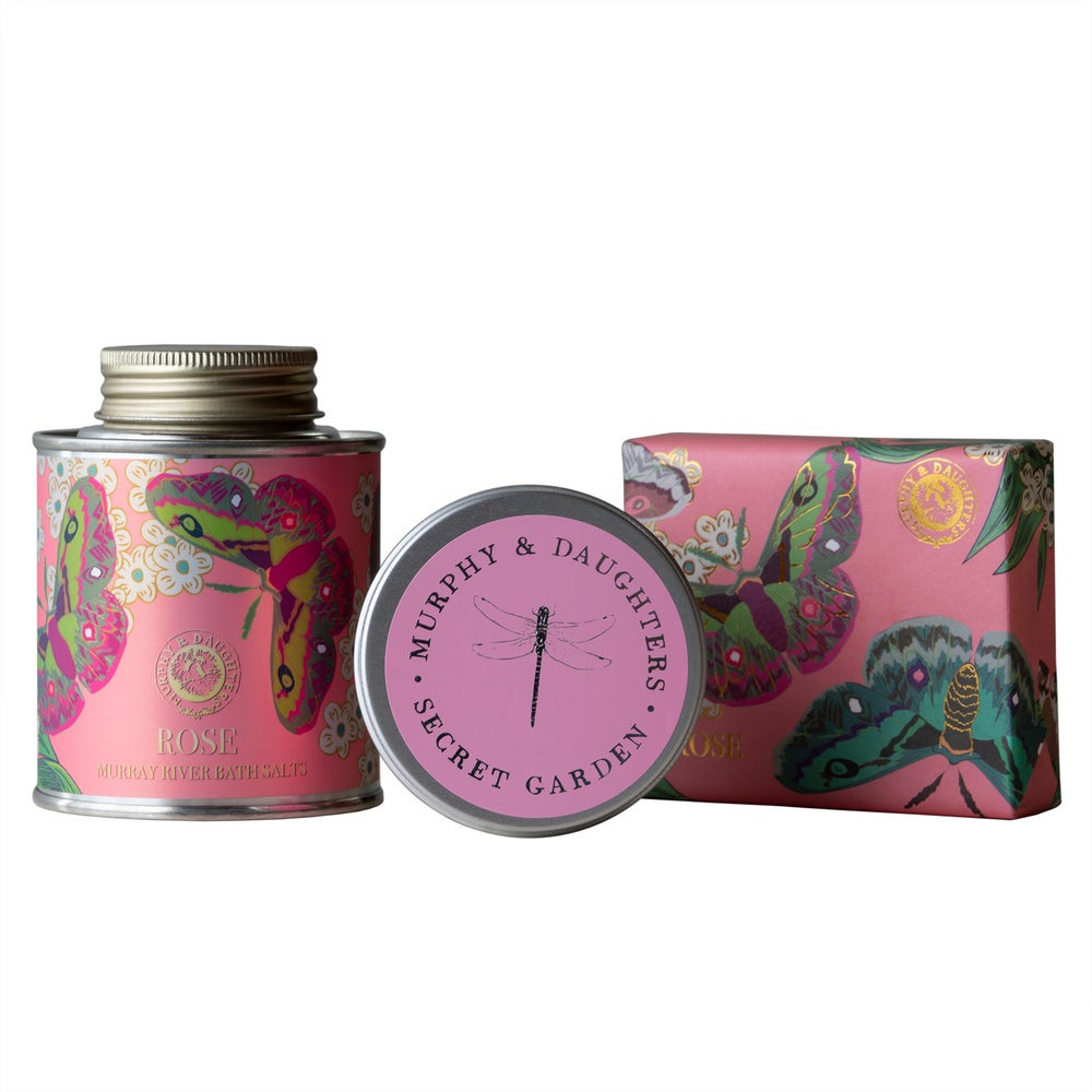 Image of Bath Salt and Soap in Rose with a Secret Garden travel candle Gift Set