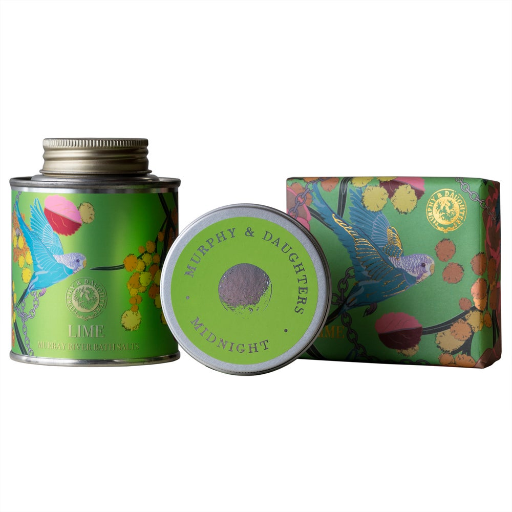 Image of Murray River Bath Salt and Soap in Lime with a Midnight travel candle Gift Set