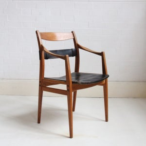 Image of Oak and leather chair by Yngve Ekström C1960