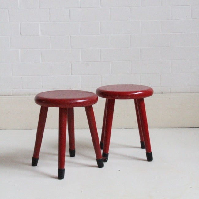 Image of Small red painted children's stools
