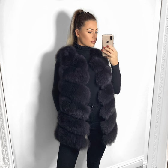 Image of LUXURY DARK GREY LONG FUR GILET